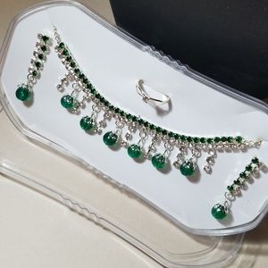 Green Gems Jewelry Set Necklace Earrings Ring